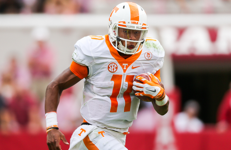 KNOXVILLE,TN - OCTOBER 24, 2015 -  quarterback Josh Dobbs #11 of the Tennessee Volunteers during the game between the Alabama Crimson Tide and the Tennessee Volunteers at Bryant-Denny Stadium in Tuscaloosa, AL. Photo By Donald Page/Tennessee Athletics
