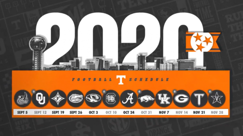 Ou Football Schedule 2020.Tennessee Announces Full 2020 Football Schedule Rocky Top